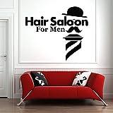 Tianpengyuanshuai Tatuajes de Pared peluquería Etiqueta de la Pared decoración Papel Tapiz Sombrero Barba patrón barbería extraíble 63X72cm