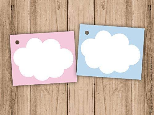 Etiqueta sin impresión para detalle de Bautizo o Baby Shower nubes. Pack de 10 unidades. Para escribir a mano. Detalles de Bautizo. Etiquetas de papel.