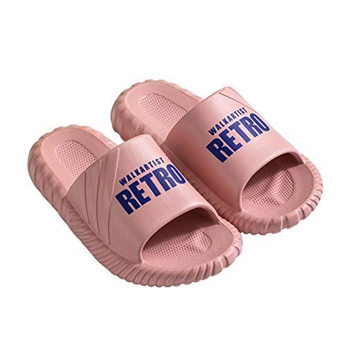 XZDNYDHGX Antideslizantes Sandalias para Casa De BañO Y Piscina Rosa, Zapatillas de Plataforma de Verano con Estampado de Letras Femeninas, silenciosas para el baño en el Interior del hogar, EU 38-39