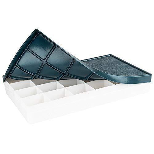 Mischpalette mit Deckel | 21,5 x 12,3 x 3 cm | 24 Fächer | leerer Aquarell-Kasten | Malpalette für Acrylfarben | zur Aufbewahrung und zum Mischen von Farben | Farbmischpalette