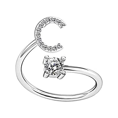Amazon - Save 80%: Ring Gifts A to Z Alphabet Ring Couple Silver/Gold Stackable Adjustable Lett…