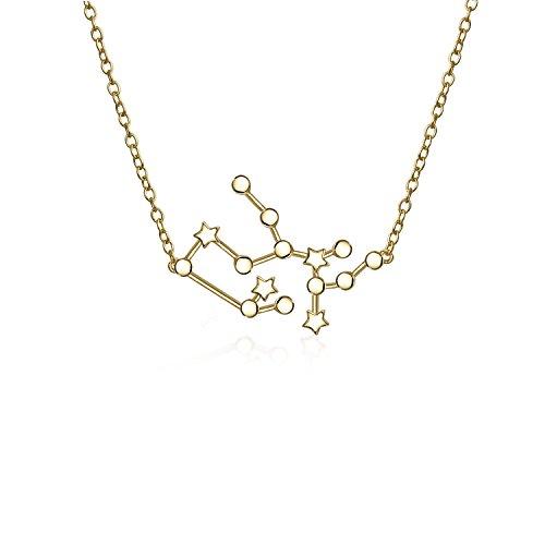 Astro Astrologie Sternzeichen Schütze Sternbild Sterne Halskette Für Damen Jugendlich 14Kt Vergoldet Sterling Silber