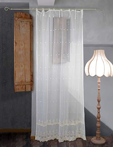 AT17 Tenda Tulle Ricamata Shabby Chic 140 x 290 Ricamo Colore Ecru