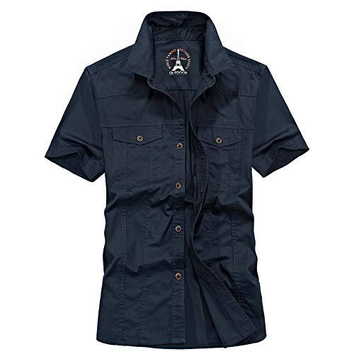 Blusa Fina de Manga Corta para Hombre, Camiseta Militar con Herramientas de Autocultivo Retro de Talla Grande Informal de Verano, con Bolsillo 3XL