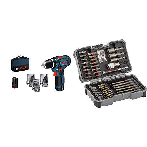 Bosch Professional Akkuschrauber GSR 12V-15 (2x 2,0 Ah Akku, 12 Volt, Schrauben-Ø max: 7 mm, in Tasche) + Bosch Professional 43tlg. Schrauber Bit Set