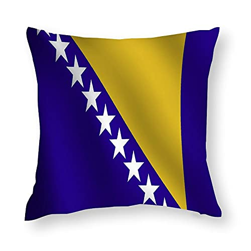 Kissenbezug mit Bosnien & Herzegowina Flagge, quadratisch, dekorativer Kissenbezug für Sofa, Couch, Zuhause, Schlafzimmer, Indoor Outdoor, niedlicher Kissenbezug 45,7 x 45,7 cm