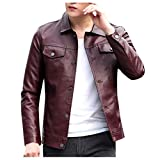 Holzkary Men's Vintage Stand Collar Leather Jacket Motorcycle PU Faux Leather Outwear Coat(L.Wine-2)