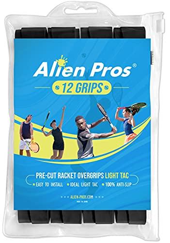 Cinta de agarre para raqueta de tenis Alien Pros (6/12/60 agarres) - Agarre de tenis precortado y ligero Tac Feel - Cinta de agarre de tenis sobre agarre Raqueta de tenis - Envuelva su raqueta