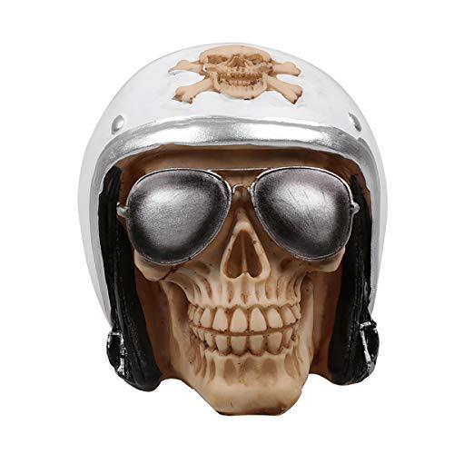 FIZZENN hars vechter piloot helm schedel met piloot zonnebril schaduwen standbeeld Macabre creatieve Halloween schedel model schedel beeldje
