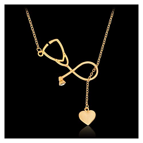WanXingY 1pc Student Necklace Medical Equipment Colorful Nurse Heart Stethoscope Shape Care Jewelry Medicine Graduation Gift Necklace (Color : 50cm, Size : Gold)