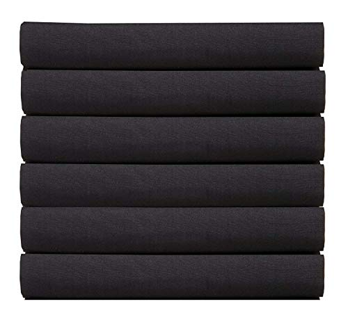 (6-Pack) Luxury Fitted Sheets! Premium Hotel Quality Elegant Comfort Wrinkle-Free 1500 Thread Count Egyptian Quality 6-Pack Fitted Sheet with Storage Pockets on Sides, Twin/Twin XL Size, Black