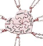 bishihongkuanbaihuod Collar De Mujer Personalizado Collar De Corazón Collar con Nombre Grabado Collar Familiar Collar De Rompecabezas Mujer(Oro Rosa 16)