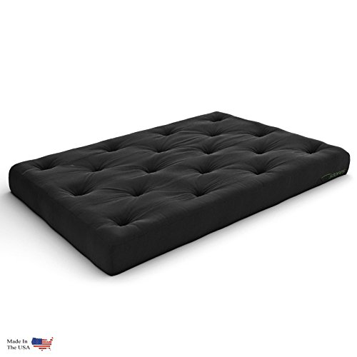 Nirvana Futons Extra Thick Premium 10-Inch Queen Futon Mattress, Black Twill - Made in USA