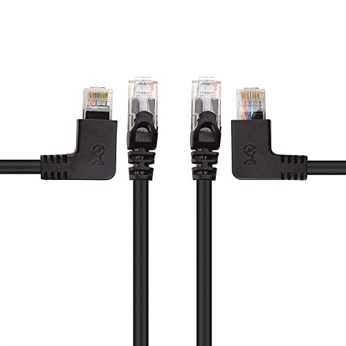 Cable Matters Combo-Pack 90 Degree Cat 6, Cat6 Right Angle Ethernet Cable (Left Angle + Right Angle Cat6 Cable) 5 Feet