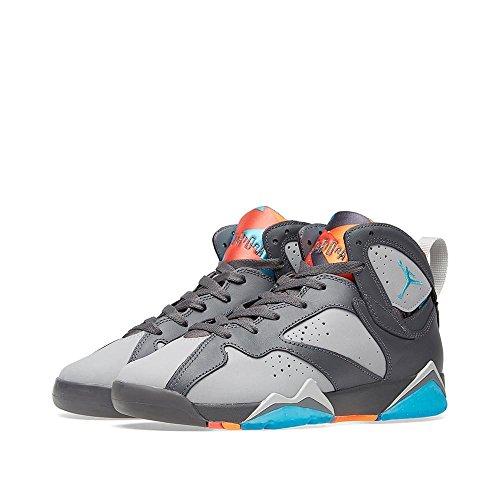 Nike Jungen Air Jordan 7 Retro BG Basketballschuhe, Gris/Azul/Dorado (Drk Gry/Trqs Bl-WLF Gry-TTL Or), 37 1/2