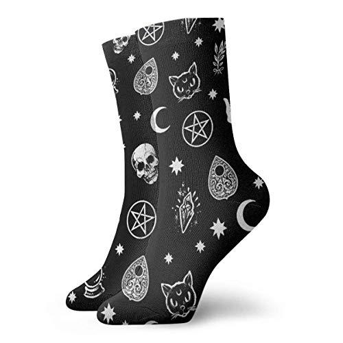 tyui7 Calcetines deportivos deportivos personalizados negros con patrón gótico de calavera gato y luna para hombres/mujeres para baloncesto