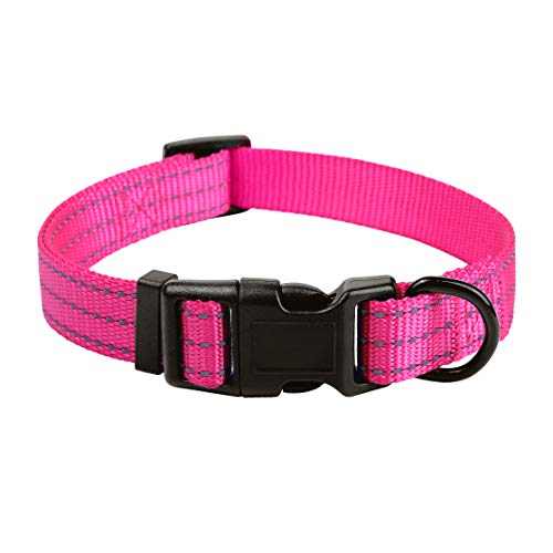 Mile High Life Dog Collar | Nylon with Reflective Three 3M Straps | Hot Pink, Large Neck 15'-19' -55 lb