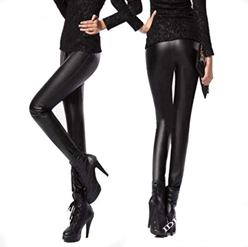 LA FERANI - Premium High Waist Leggings Leder Optik Stretch Schwarz figurbetont sexy Outfit