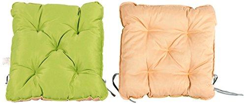 Meerweh 2er Set Auflage für Sessel Nordisches Design Sitzpolster Sitzkissen, grün/beige, 50 x 50 x 10 cm
