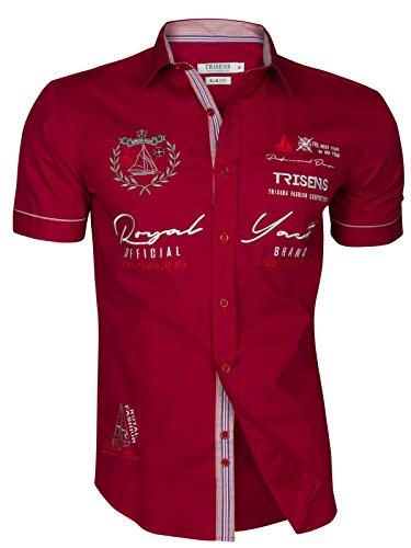 Trisens Herren Hemd Shirt bestrickt Stickerei Kurzarm Baumwolle Polo Party, Größe:M, Farbe:Bordeaux