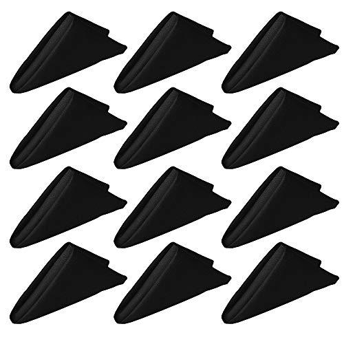 Muka Servilletas de tela de alta resistencia de 48 x 48 cm, 12 paquetes, color negro