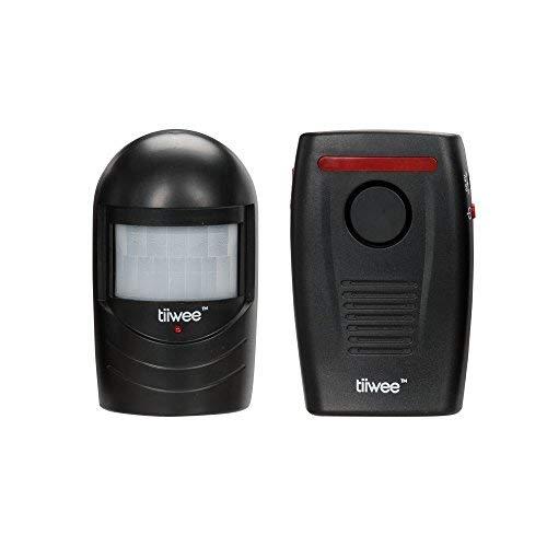 tiiwee Funk Bewegungsmelder Außen - Schwarz mit Batterien - Durchgangsmelder - Einbruchschutz