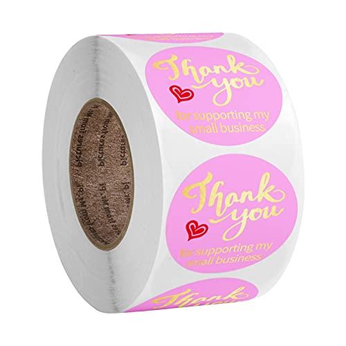 WYGK Etiquetas Multiuso 500 unids/Rollo Rosa Papel de Oro Gracias Etiquetas Etiquetas Sello Pegatinas Papel para apoyar mi pequeña Empresa 1 Pulgada de papelería Pegatinas Pegatinas para Oficina