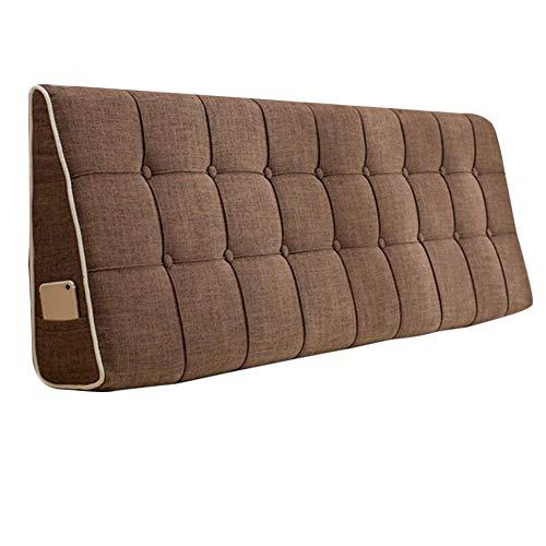 OZYN-Almohadas lumbares Amortiguar Almohada Pad Bed Reposacabezas Respaldo Cabecera Lumbar Cintura Sin Cabecera Cojines Triangulares Cabecera cabecero de la Cama (Color : Dark Brown, Size : 180x50cm)