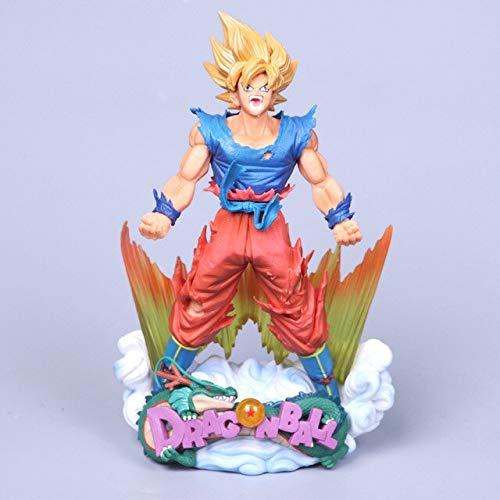 Yvonnezhang 23cm Dragon Ball Figur Son Goku Figur MSP Super Saiyan Die Pinsel Figur PVC Dragon Ball Z Actionfigur DBZ Dragonball Z, ROT WIE DAS Bild