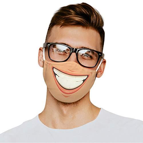 Lulupi Mundschutz Multifunktionstuch 3D Druck Bandana Maske Waschbar Baumwolle Stoffmaske Atmungsaktiv Staubdicht Mund-Nasen Bedeckung Lustig Motiv Halstuch Schals Herren Damen
