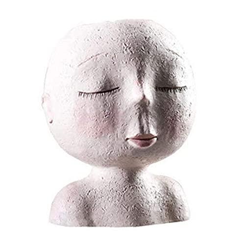 YLFH Patrón de escultura de muñeca estilo día para niños, maceta de resina suculentas, mini bonsai contenedor adorno para el hogar, jardín, oficina, escritorio decoración jardinería