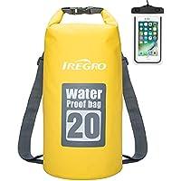 IREGRO Bolsas Estancas Impermeable 20L 500D Doble Correa para el Hombro seco Bolsa Mochila Impermeable con Caja teléfono Resistente al Agua para natación, canotaje, Lona, Camping, Flotante, Rafting
