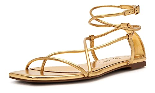 Katy Perry Women's The Luv Flat Sandal, New Gold, 8.5