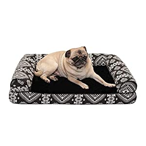 Furhaven Pet Dog Bed – Orthopedic Plush Kilim Southwest Home Decor Traditional Sofa-Style Living Room Couch Pet Bed with Removable Cover for Dogs and Cats, Black Medallion, Medium