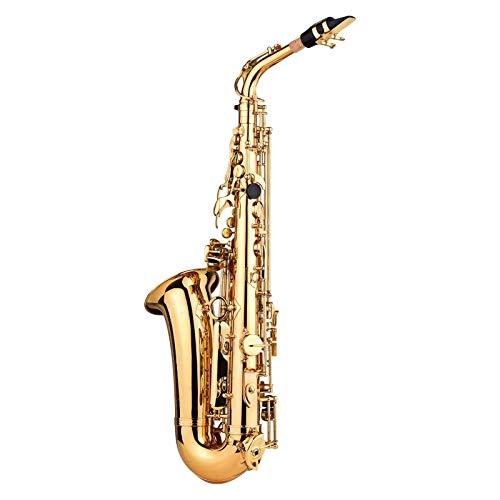 Vobajf Saxofón Saxofón EB Key Latón de latón Laca de Oro con Estuche rígido Limpieza de Pincel Limpieza de paño 1 par Guantes 2 Correas Saxofón Filyard for Principiantes y Jugadores intermedios