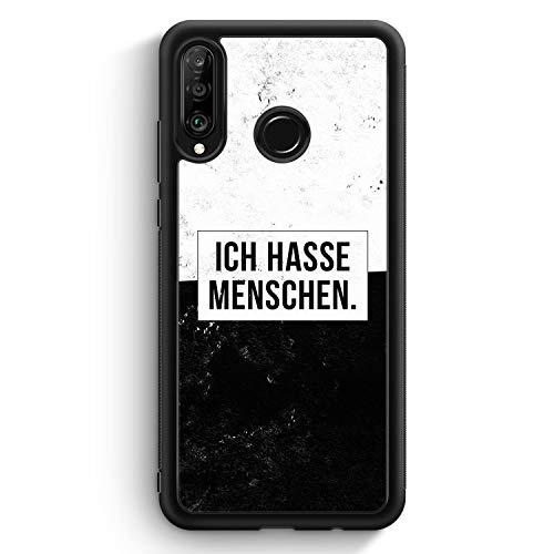 Ich Hasse Menschen - Silikon Hülle für Huawei P30 Lite - Motiv Design Cool Witzig Lustig Spruch Zitat Grunge - Cover Handyhülle Schutzhülle Case Schale
