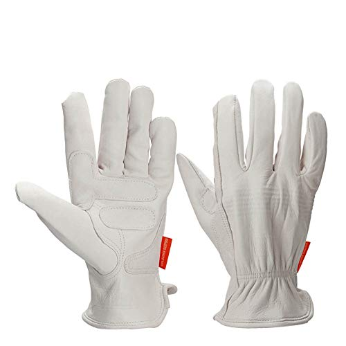 YJF Work Leather Gloves Handing Workshop Gloves for Driving/Riding/Gardening/Farm - Extremely Soft And Sweat-Absorbent,S