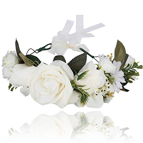 AWAYTR Boho Blumenkrone Stirnband Festival Kopfschmuck - Handgefertigt Blume Haarkranz mit Band Beere Blumenstirnband für Frauen und Mädchen Kleid (Beige)