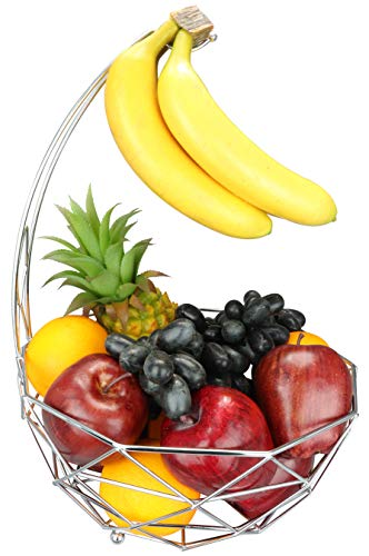 Fruit basket banana hanger, removable banana hanger, home decoration (chrome)