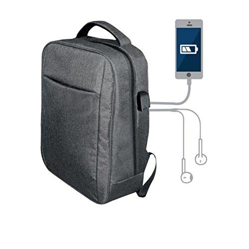 Blaupunkt BLP0280.143 Mochila con Cargador USB, Toma de Auriculares, Cómoda, Resistente, Plata