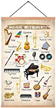 HPNIUB Natural Wood Magnetic Hanger Frame Poster -Music Canvas Art Prints Music Instruments Painting,Music Notes Piano Vio...