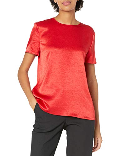 Theory Women's Woven Tee, Bright Ruby, P