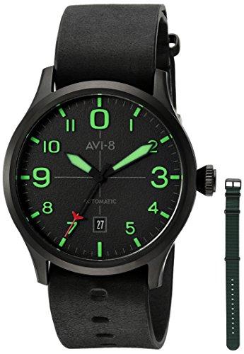 """AVI-8de los hombres """"Flyboy japonés automático acero inoxidable y piel reloj de aviador, color: negro (modelo: AV-4021-0C)"""