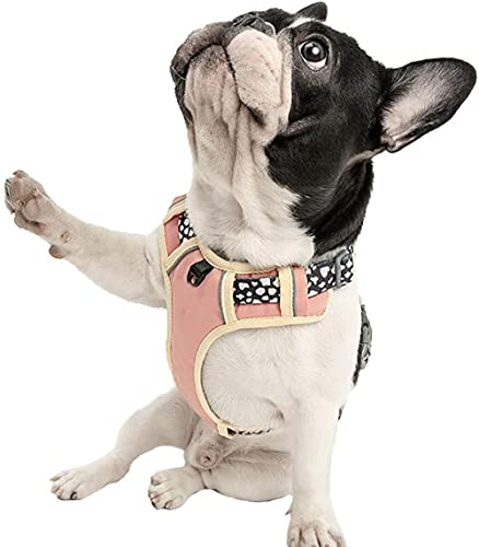 Arnés de Perro Sin tirón, Chaleco de Senderismo Reflectante para Mascotas, Nylon Transpirable Ajustable, operación Simple, Perros pequeños, medianos-Rosa_Pequeña