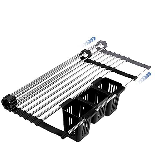 HFZY Plato Plegable Secado Multifunción Cocina Almacenamiento Organizador Plato Drenador de Plato Acero Inoxidable Retractable Rack sobre Lavabo con Soporte de utensilio