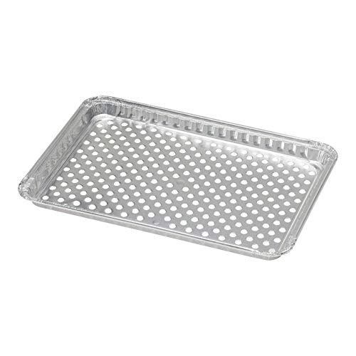 pinkada 24-Pack Disposable Aluminum Foil BBQ Grill Topper Pan Prevents Food from Falling into The Grill or Sticking to The Grate No Clean Up Necessary  Perfect for Camping and Outdoor Use