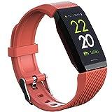 Yumanluo Smartwatch,Pulsera Deportiva Impermeable, monitorización del sueño del oxígeno en Sangre del Ritmo cardíaco del Paso-Naranja,Reloj Inteligente con Pulsómetro