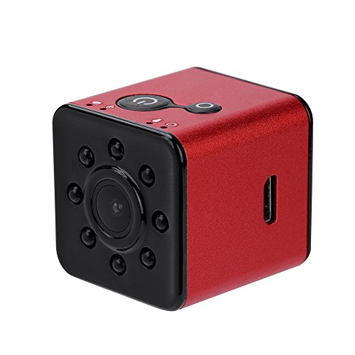 Lazmin Mini WiFi Action Kamera, 1080P HD 155 ° Weitwinkelobjektiv, wasserdichte Sportkamera, Camcorder Infrarot Nachtsicht für Luftaufnahmen(rot)