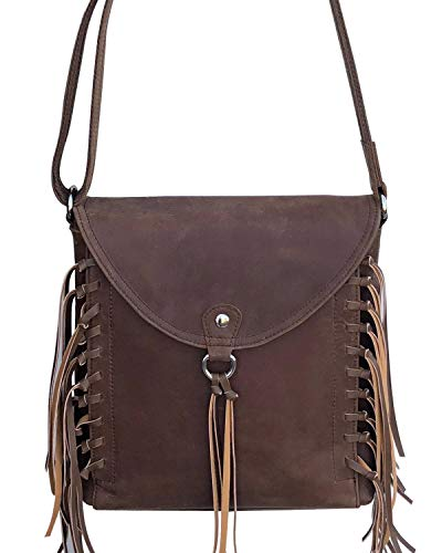 Roma Leathers Gun Concealment Bag - Genuine Leather Fringe Crossbody, Adjustable Wire Reinforced Strap, YKK Zipper