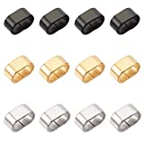UNICRAFTALE 60pcs 3 Colors Rectangle Slide Charms Stainless Steel Slide Charms Rectangle Pendant Charm 8x4mm Large Hole Leather Cord Slider Loose Beads for Bracelets Necklace Jewelry Making